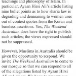 Muslims in Australia should be given the opportunity to respond
